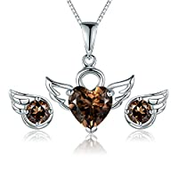 JiangXin Natural Smoky Quartz Jewellery Set 925 Sterling Silver Earring Studs Pendant Necklace for Women/Girls Angel Wing Engagement Wedding Bridal Jewellery