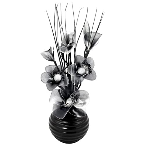 Flourish 704490 813 Black Vase With Black And White Nylon Artificial  Flowers In Vase, Fake Flowers, Ornaments, Small Gift, Home Accessories, 32cm