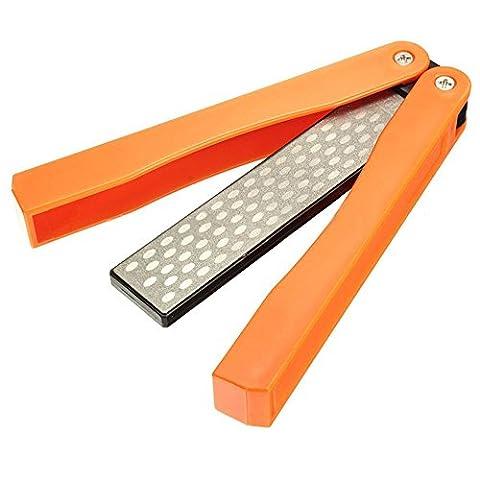 nbhuzehua doppelseitig 400/600Körnung Klapp Tasche Diamant Messerschärfer zum Schärfen Küche Messer, Outdoor Camping, Garten Werkzeug, Schere, Axt Orange