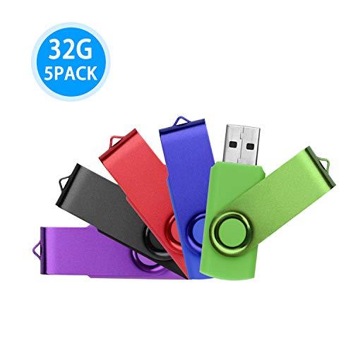 Weisite-chiavetta usb 2.0 da 32gb,girevole memory stick 5 pezzi colori assortiti (nero,viola,verde,blu,rosso)