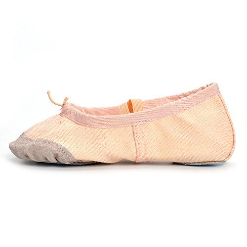 Estamico Mädchen und Frauen Classic Ballett flache Tanzschuhe Beige