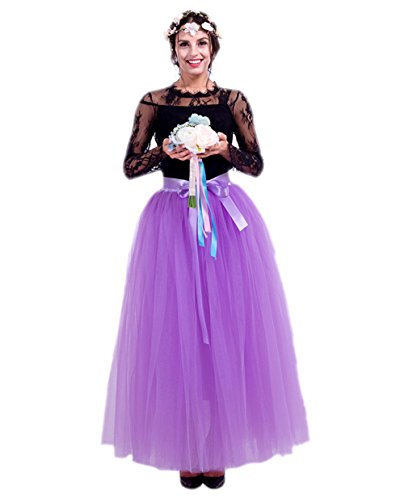 Reno Halloween (Honeystore Damen's Tüllrock Lang 5 Layer Prinzessin Kleider Lang Petticoat Ballettrock Maxi Unterrock Pettiskirt Lang One Size)