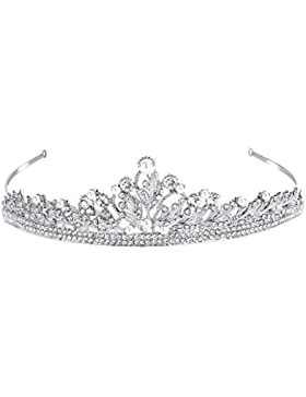 FANZE Damen Österreichen Kristall Cream Künstliche Perlen Vintage Blatt Vine Braut Prinzessin Krone Diadem Haarband