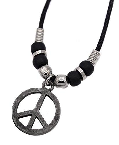 Pendentif Collier Peace And Love Paix Amour vintage Hippie 70 topt acier 316l