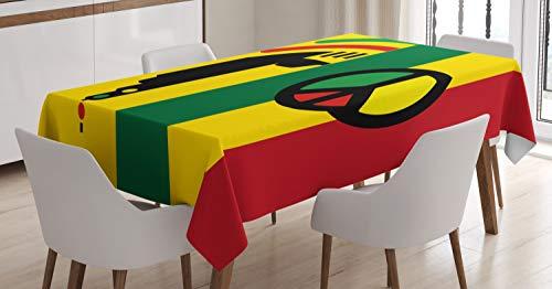 ABAKUHAUS Rasta Tischdecke, Reggae-Musik-Friedenssymbol, 140 x 200 cm, Schmutzabweisent mit Modernster Druck Technologie Waschbar Klare Farben, Rot grün gelb