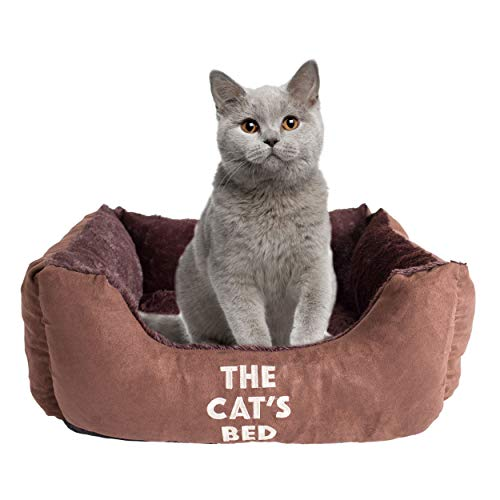 The Cat's Bed, Premium Cat Bed in Brown, Luxury Plush Pillow & Fully Washable,, Extremely Soft, Warm & Comfortable – The Ultimate Cute Cat Kitten Bedroom Decor