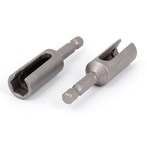 uxcell A14110600ux0754 10 mm Écrou hexagonal 6,3 cm en métal fendue extension Hexagon Driver Bit (2 pièces)