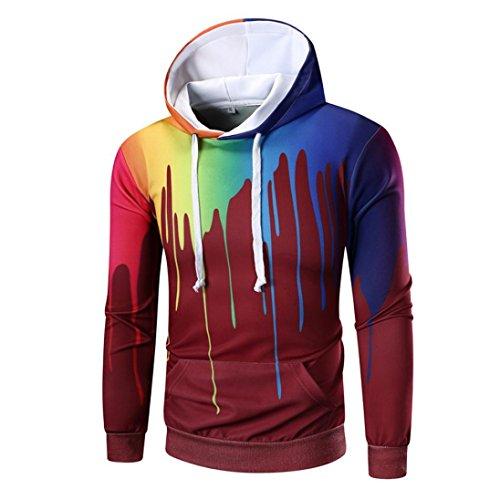ITISME Herren Pullover Langarm Digital Print Hoodie Kapuzen-Sweatshirt Tops Mantel Outwear Camouflage Dunkelrot Elegant