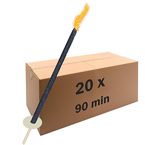 Wachsfackeln 90 min Brenndauer 20 Stück, Fackel für Umzüge