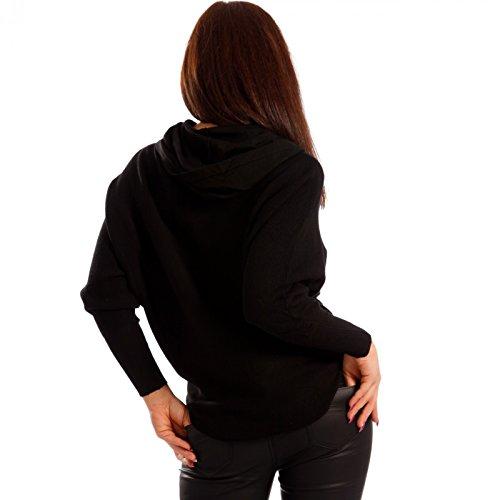 Damen Kapuzen Pullover Herz Pailletten Schwarz