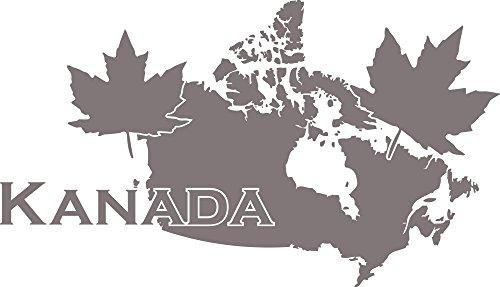 Amerika Wandteppiche (GRAZDesign Wandaufkleber Klebefolie Kanada - Dekoration Wohnung Umriss Landkarte - Wandtattoo Wappen Amerika / 99x57cm / 090 Silbergrau)
