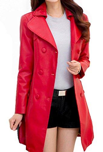 Helan Damen zWeiBeihig PU-Leder Mantel Rot