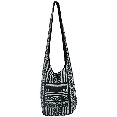 Black Diamond Pattern Hippie Festival Cotton Canvas Shoulder Bag