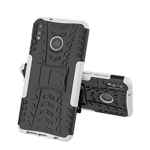 FUNCASE Custodia per Xiaomi Redmi 7,Dual Layer Resistente TPU+PC Hybrid Armor Protective Cover con Kickstand [Texture] per Xiaomi Redmi 7,Bianca