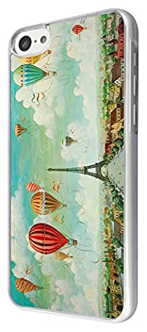 For All iphone 4 4S iphone 5 5S iphone 5C Cool Paris Eiffel tower View Hot Air Balloons Fashion Trend Case Back Cover Metal and Hard Plastic Case-Clear Frame (Please Select your phone model from the drop box under) (iphone 5C)