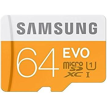 Samsung Memory Evo MicroSDXC UHS-I Scheda Micro SD con Adattatore USB 2.0, UHS-1, Classe 10, 64 GB, Bianco/Arancio