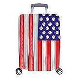 La bandiera americana divertente dei pipistrelli di baseball della bandiera di viaggio con Spinner spinge la valigia 24 pollici del bagaglio