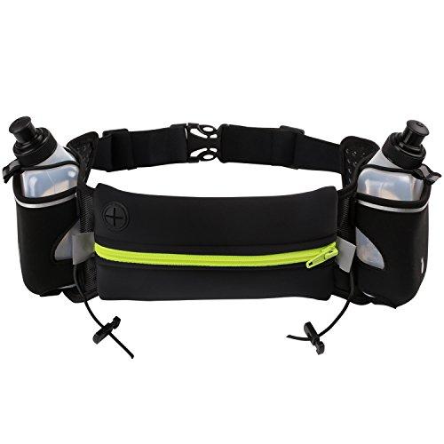 Preisvergleich Produktbild Cido Hüfttasche mit 2 Trinkflasche, 2 Flaschenhalter, und eine Reißverschlusstasche, geeignet fürmeisten Handy und Smartphone, für Wanderung Laufen Radfahren Reisen und Outdoor Aktivitäten
