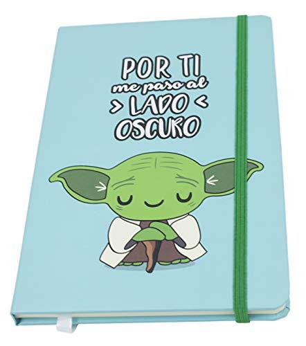 """Cuadernos Bonitos. Cuaderno A5 Diseño Star Wars. Libreta Star Wars. Cuaderno De Viaje con La Frase """"por Ti Me Paso Al Lado Oscuro"""". Libretas Bonitas."""