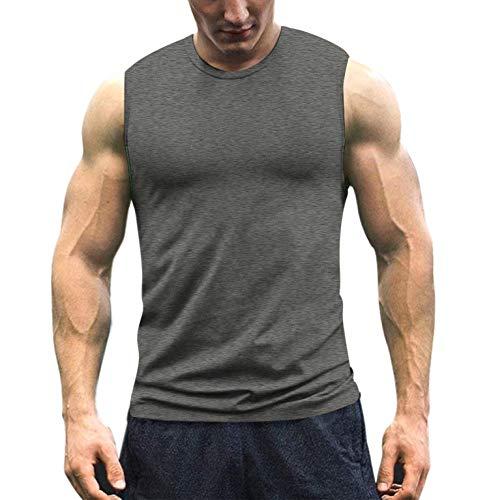 COOFANDY Herren Workout Tank Top ärmellos Muscle Shirt Baumwolle Gym Training Bodybuilding Tee Gr. XL, dunkelgrau