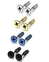 Sailimue 4 Pairs Stainless Steel Stud Earrings for Men Women Ear Piercing Earrings Screw
