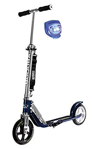 Hudora Scooter / Roller / Cityroller Big Wheel MC / RX 205 mit LENKERLICHT (METALLIC BLAU 14736)