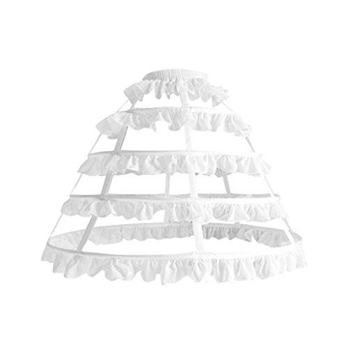 Cosplayitem Damen Mädchen Lolita Petticoat Unterrock Underskirt 4 Reifen (62cm, Weiß)