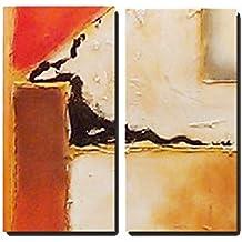 Cuadro Pintura Abstracta moderna dos Lienzos pintados a mano con textura, medidas 2(110x50)cm