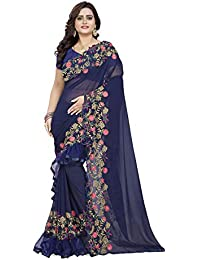 Riva Enterprise women's Georgette Ruffle Design Saree With Embroidery Work Saree