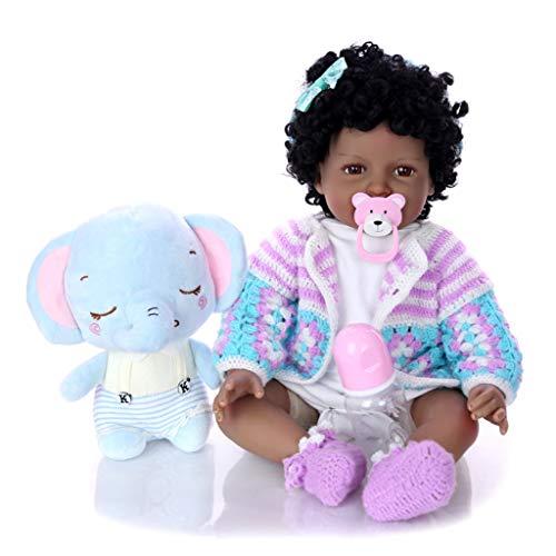 TINGSHOP Kleinkind 22 Zoll 55 cm Reborn Babypuppen, Silikon Vinyl Afroamerikaner Schwarz Indien Stil Gefühl Echt Für Kinder Geburtstagsgeschenke Lächeln Mädchen Magnet Schnuller