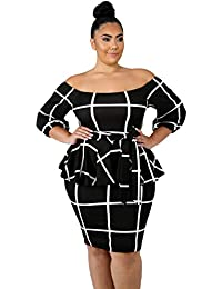 a13bc3fc48 Betty-Boutique Women s Black White Checked Plus Size Peplum Dress Size 18-20