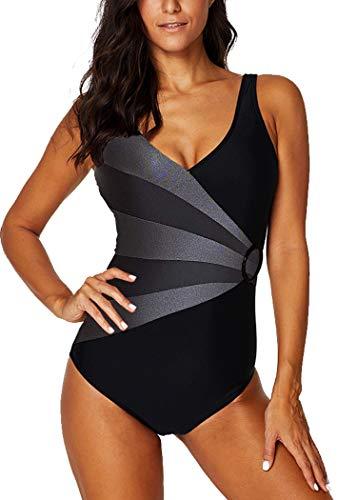 AOQUSSQOA Damen Badeanzug Einteilege Leopardenmuster Bademode Figurformend Bauchweg Bikini Große Größe Strandmode (EU 50-52 (5XL), Grau)