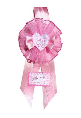 Fiocco nascita rosa cuore carrozzina con ricamo