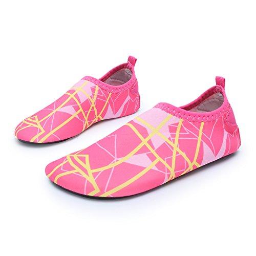 L-RUN Kinder Schwimmen Wasser Schuhe Barefoot Aqua Socken Schuhe Peach UK 7-7.5 = EU 24-25 (Wo-a-l)