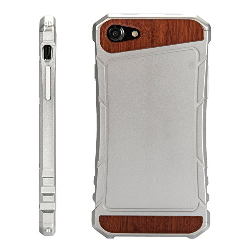 eimo iPhone 7 Aluminium Housse Métal Case Bois étuis Pour iPhone 7 4,7 pouces - Palissandre (B-Argent Aluminum) B-Palisander