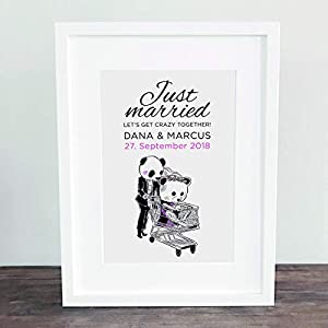 Poster, Kunstdruck, Bild, Traumpaar, Jahrestag, Pandas, Love, Liebe, Gastgeschenk, Hochzeit Geschenkidee Hochzeitsgeschenk, Deko: