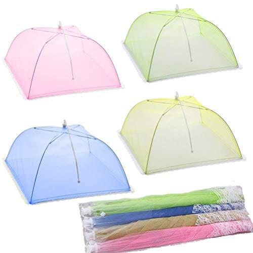 SXYHKJ 4 Stück Große Faltbar Mesh Sieb Essen Regenschirm Abdeckung Netzabdeckung Lebensmittel, für Draußen & Zuhause - Wiederverwendbar