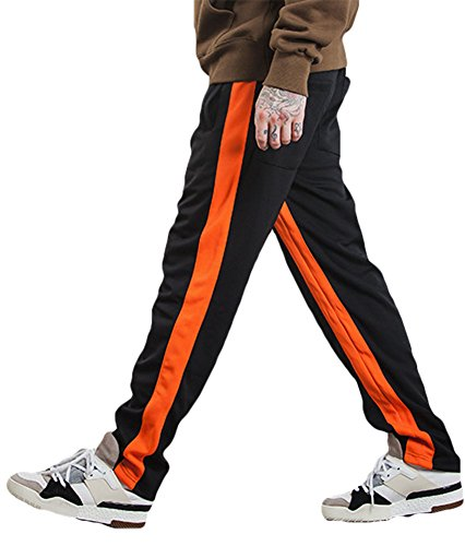 ezShe Men's Contrast Color Striped Casual Sports Track Pants