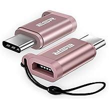 [2 Unidades] ESR Adaptador USB C Macho a Micro USB [Carga Rápida][OTG]con Cuerda , Adaptador USB Tipo C de Aluminio Resistencia 56 ohm para Nuevo MacBook, Samsung S8, Nintendo Switch, LG G5 G6 -Rosa Oro