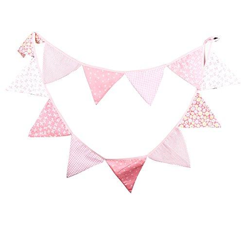 Hrph 12 Banderas Banderas 3,3 millones de personalidad linda Verderón Banderas boda del partido Vintage rosado garland decoración (#4)