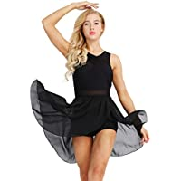 YiZYiF Ragazze e Donne Body da Danza Vestito da Balletto Classica Leotard in Chiffon Paillettes Senza Maniche Dancewear Allenamento Costume da Ginnastica Irregolare Performance