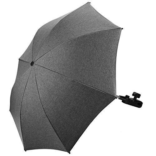 Baby Kinderwagen Regenschirm 73cm Durchmesser Universal Sonnenschirm Buggy Kinderwagen 50+ UV-Sonnenschutz mit Einem Regenschirmgriff- Grau