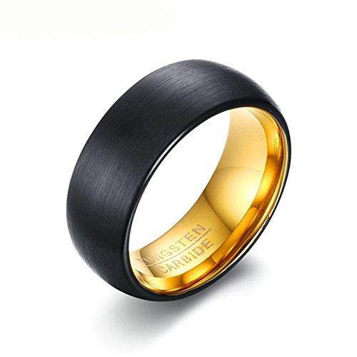 Daesar Herren Wolframkarbid Ringe Tungsten Schwarz Gold Ring 8MM Verlobungsring Trauringe Gr. 57 (18.1)
