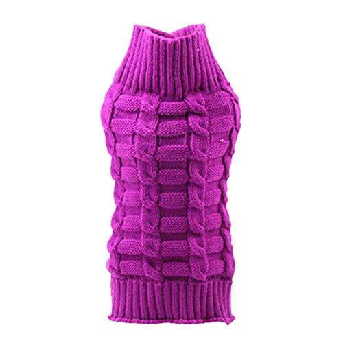 Lovejoy Store Hundepullover, Winter, warm, für Hunde, Katzen, Welpen, Strickgarn, Kostüm, Jacke, Bekleidung, Geschenk für kleine mittelgroße Hunde und Katzen, violett, XL