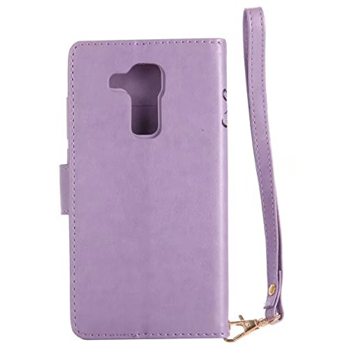 Luminous Wallet Pouch Case, Premium Embossing Fariy Girl & Floral Pattern PU Leder Folio Stand Case mit weichen TPU / Silikon Cover & Card Slots & Lanyard Strap für Huawei Nova Plus ( Color : Rose-red Purple