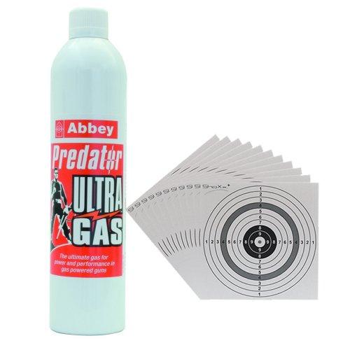 SET: 700 ml ABBEY PREDATOR ULTRA GAS / Blowback-Gas für Softair Waffen mit Blowback-Mechanismus + 10 ShoXx.® shoot-club Zielscheiben 14x14 cm mit zusätzlichen grauen Ring und 250 g/m² -