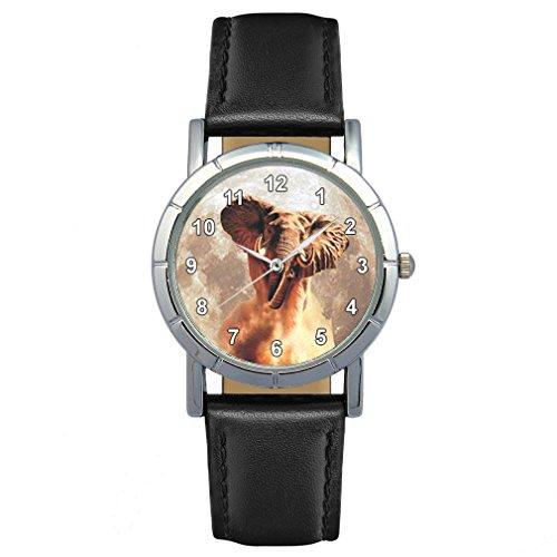 Timest - Elefante - Reloj para Mujer con Correa de Cuero negro Analógico Cuarzo SA1798