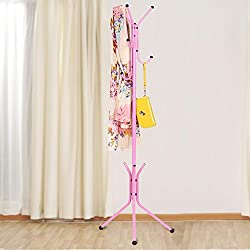 House of Quirk wrought iron coat rack hanger creative fashion bedroom for hanging clothes shelves, wrought iron racks standing coat rack - Pink