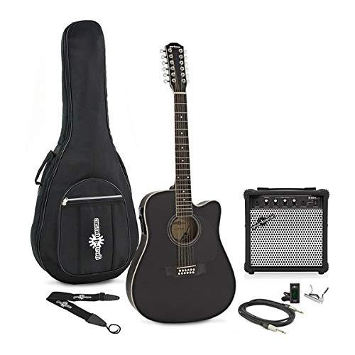 Dreadnought 12-saitige Elektroakustische Gitarre Black mit Verstärkerpaket