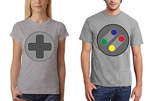 clothinx Herren T-Shirt für Gamer Snes Buttons oder Damen T-Shirt Snes Steuerkreuz Sports Grey / Steuerkreuz